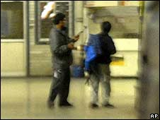 Gunmen inside the Mumbai railway station