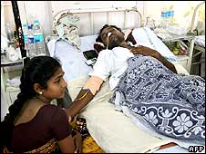 One of those injured in the Mumbai attacks in hospital