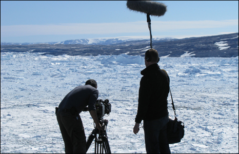 Soundman/Producer Arwyn Evans and cameraman Mike Harrison on BBC Wales O Flaen Dy Lygaid programme by the Ikertivaq glacier in eastern Greenland (Picture: Iolo ap Dafydd).