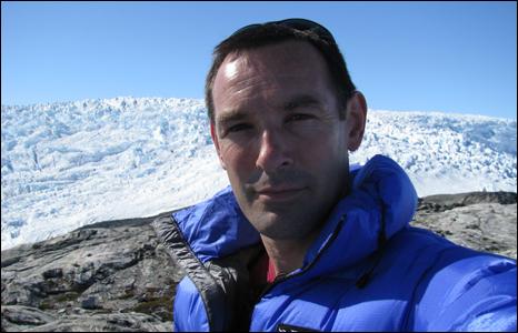 BBC Wales environment correspondent iolo ap daydd at Ikertivaq glacier (Pic: Iolo ap Dafydd)