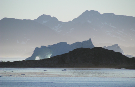 iceberg in Kulusuk Bay in July 2008, melting and moving out to the north Atlantic  (Pic: Iolo ap Dafydd)