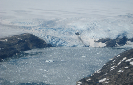 An unnamed glacier in eastern Greenland melting as it reaches the sea (Pic: Swansea University).