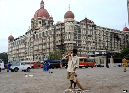 Sweeping up outside the Taj Mahal hotel