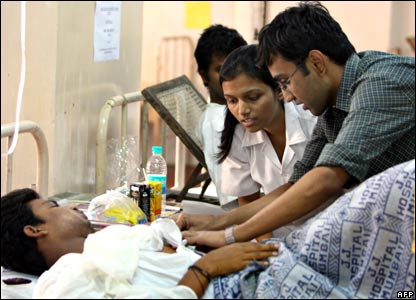 Victim of attacks receiving treatment in Mumbai's JJ Hospital