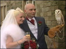 The happy couple and Fudge the barn owl
