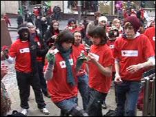 campaigners froze in unison in Buchanan Street