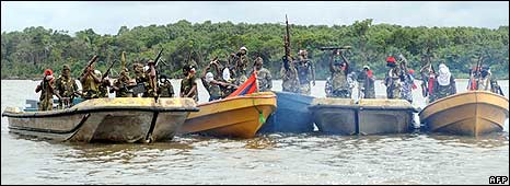 Militants in boats in the Niger Delta, September 2008