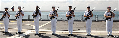 French soldiers of the Nivose frigate pose on board the ship at Djobouti harbour