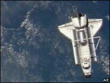 Space shuttle seen from International Space Station