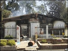 A burnt building after violence in Jos, Nigeria