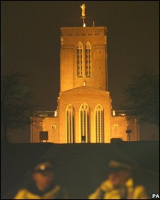 Police guarding the grounds of Guildford Cathedral