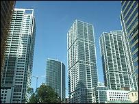 Zona de Brickle en Miami, centro financiero de la ciudad