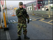A South Korean soldier at Kaesong industrial comples, South Korea