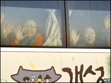 South Koreans on a day trip to North Korea