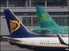 Ryanair and Aer Lingus aircraft