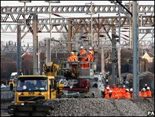 Engineers work on the West Coast Main Line