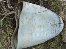Cluster bomb allegedly used by the Sri Lankan air force