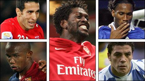 BBC African Footballer of the Year award nominees (Clockwise from bottom left): Samuel Eto'o, Mohamed Aboutrika, Emmanuel Adebayor, Didier Drogba and Amr Zaki