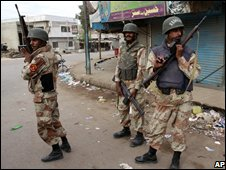 Troops on the streets of Karachi