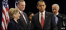 Hillary Clinton, James Jones, Barack Obama and Joe Biden