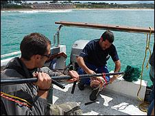 BBC correspondent (L) and marine biologist Enrico Gennari (R)