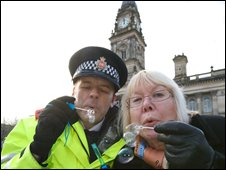Inspector Phil Spurgeon of GMP and Councillor Elaine Sherrington