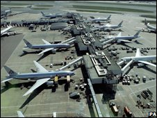 Aerial view of Heathrow terminal