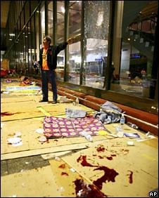 A pool of blood at Bangkok's Don Mueang airport (2 December 2008