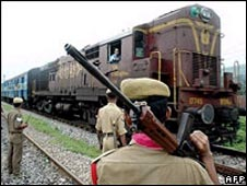 File picture of security men near a train in Assam