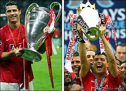 Cristiano Ronaldo with the 2008 Champions League trophy (left) and 2008 Premier League trophy