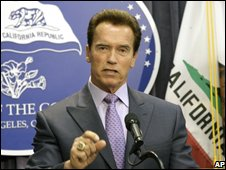 California Governor Arnold Schwarzenegger holds a news conference on 1 December