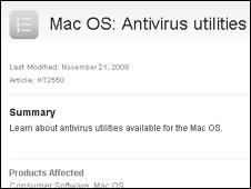 Screengrab of Apple security message, Apple