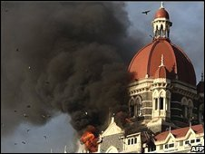 Smoke billows from the Taj Mahal Palace hotel in Mumbai, India