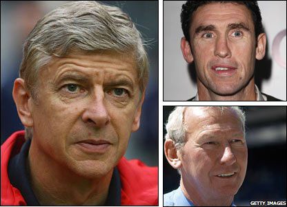 Arsene Wenger, Martin Keown and Bob Wilson