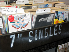 Singles rack at Rough Trade East record shop