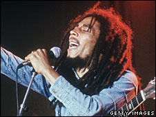File photo of Bob Marley performing in Sweden