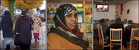 Somali composite: L- women in birmingham; Zainab Awad ; Istanbul cafe