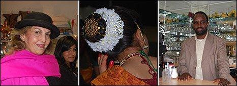 L-R: Kurdish women at the Western Kurdistan Association; young Tamil girl dancer; cafe owner in Edmonton Somali cafe