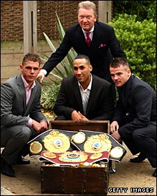 Frank Warren poses with his new fighters - Saunders, DeGale and Gavin
