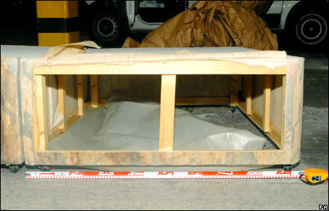 Bed base where Shannon Matthews and Michael Donovan were found