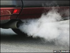 Emissions coming from a car exhaust pipe