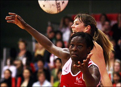 Mkoloma in action for England against New Zealand