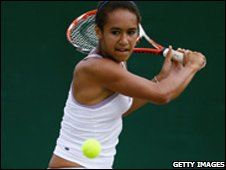 Heather Watson playing at Wimbledon