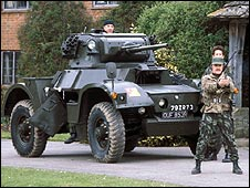 Armoured car in scene from 1981 adaption of The Day of The Triffids