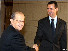 Lebanese Christian leader Michel Aoun (left) meets Syrian President Bashar Assad