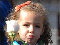 Girl attending Mass in Madrid