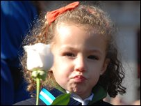 Girl at mass in Madrid