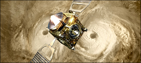 Artist's view of Venus Express over atmospheric storms (Esa)