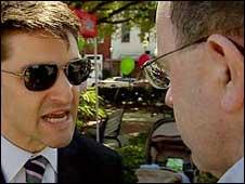 John Sweeney speaking to scientologist