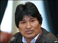 Bolivian President Evo Morales at the presidential palace in La Paz on 27 November 2008